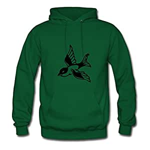 X-large Sparrow Painting And Let You Handle It Customized Women Green Hoodies