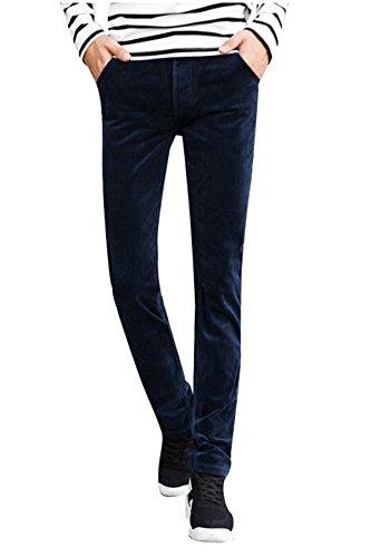 Menschwear Men's Corduroy Pants Stretch Slim Fit Tapered Legs Blue 32