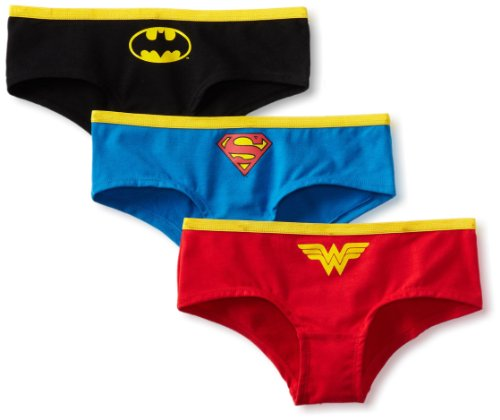 DC Comics Super Heroes Classic Logo 3 Pack Hipster Briefs for women (Large)