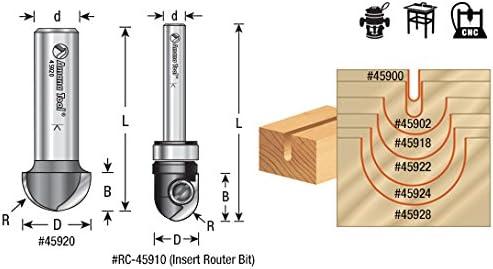 45924 Carbide Tipped Core Box 1//2 Radius x 1 Dia x 5//8 x 1//4 Shank Amana Tool
