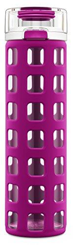 Ello Syndicate BPA-Free Glass Water Bottle with Flip Lid, Fuchsia, 20 Oz. ()