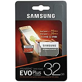 Samsung 32GB EVO Plus Class 10 Micro SDHC with Adapter 80mb/s (MB-MC32DA/AM) 9 256GB microSDXC Memory Card EVO Plus Family Line Read:up to 100MB/s with UHS-1 interface Write:up to 90MB/s with UHS-1 interface UHS-I, compatible to HS interface, Grade 3, Class 10, 4K HD