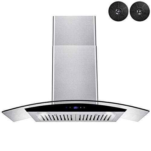AKDY 30 in. Convertible Kitchen Wall Mount Range Hood in Stainless Steel with Tempered Glass, Touch Control and Carbon Filters