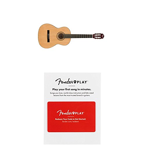 Squier SA-150N Squier Beginner Nylon String Classical Acoustic Guitar - Natural with 3 Months of Fender Play by Fender