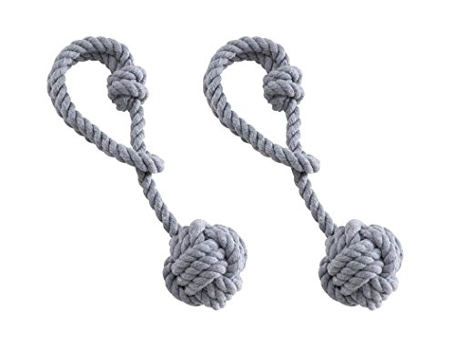 Backs Tie Cord (Anjee Hand Knitting Holdbacks for Blackout Curtains, Rustic Cotton Rope Tiebacks with Single Ball (One Pair, Grey))
