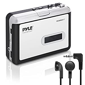 Pyle 2-in-1 Cassette-to-MP3 Converter Recorder and USB Walkman Cassette Player - Portable Battery Powered Tape Audio Digitizer with 3.5mm Audio Jack Headphones (PCASRSD17)