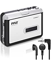 Pyle PCASRSD17 2-in-1 Cassette-to-MP3 Converter Recorder and USB Walkman Cassette Player-Portable Battery Powered Tape Audio Digitizer with 3.5mm Audio Jack Headphones, White