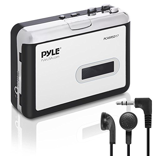Pyle 2-in-1 Cassette-to-MP3 Converter Recorder and USB Walkman Cassette Player - Portable Battery Powered Tape Audio Digitizer with 3.5mm Audio Jack Headphones (PCASRSD17) (Tape Converter Recorder To Mp3)