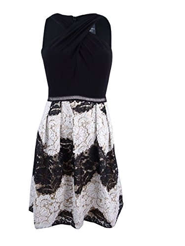 Adrianna Papell Womens Petites Floral Lace Above Knee Party Dress Black 8P by Adrianna Papell