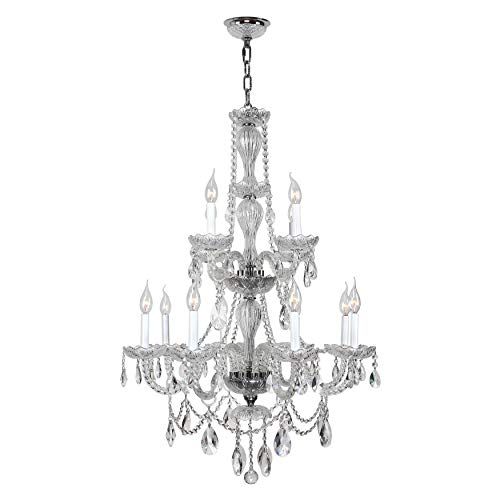 (Brilliance Lighting and Chandeliers Venetian Italian Style 12-Light Full Lead Crystal Chrome Finish Chandelier)