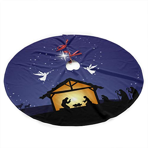 HaSaKa Grand Noel Nativity Scene Silhouette 36 Inch Under Christmas Artificial Tree Skirt Carpet Wood Floor Mat Rugs Protective Cover Themed Round Pad Classic Big Large Xmas Decorations ()
