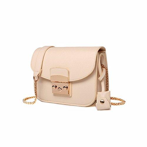 La cadena de moda bolso pequeño cuadrado bolsa bolso bolsos de otoño e invierno, amarillo Blanco-crema