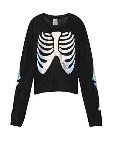 Victoria's Secret Pink Campus Crop Tee, Halloween Skeleton Black, X-Small]()