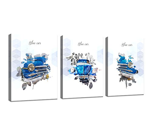 Baisuart Wall art canvas European style decorative painting HD Blue car abstract ()