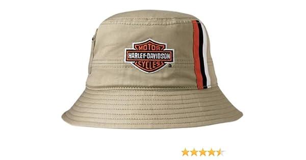ded78dd28f0 Harley-Davidson Mens Khaki Stripes Bucket Hat HD-428 at Amazon Men s  Clothing store