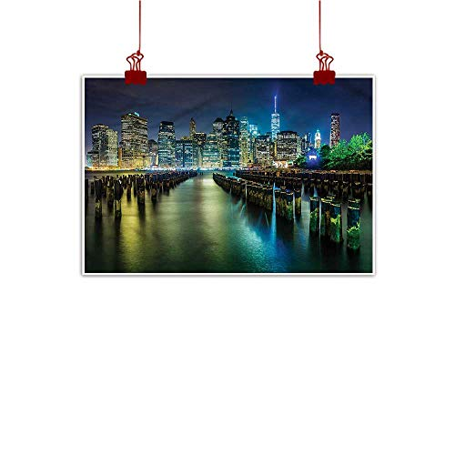 Anyangeight Wall Painting Prints New York,Pier Pilings and Manhattan 36