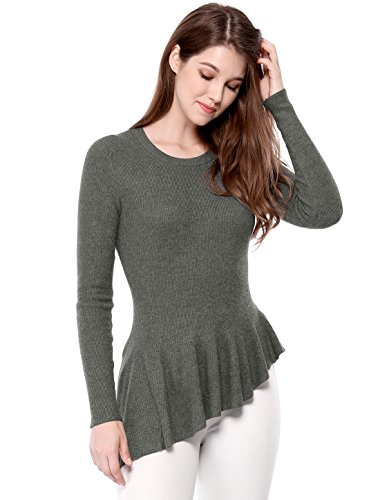 Allegra K Women's Long Sleeve Ribbed Knit Ruffle Hem Peplum Top L Gray
