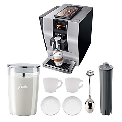 Jura 15093 Automatic Coffee Machine Z6, Aluminum Includes Glass Milk Container, Smart Filter Cartridge, 2 Demi Spoons and 2 Espresso Cups Bundle