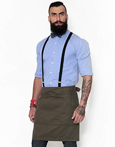 (Half Army Green Apron with Durable Twill - Bistro Apron, Waist Apron adjustable for Men and Women - Professional Barista, Bartender, Mixologist, Florist, Server Aprons)
