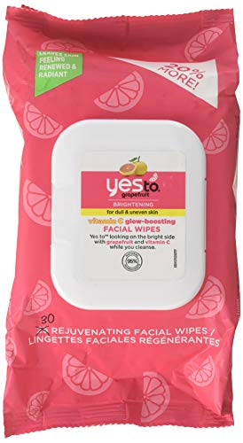 Yes To Grapefruit Brightening Facial Wipes for Dull & Uneven Skin a Facial Wipes Grapefruit Cleanse & Brighten skin, 30 Count