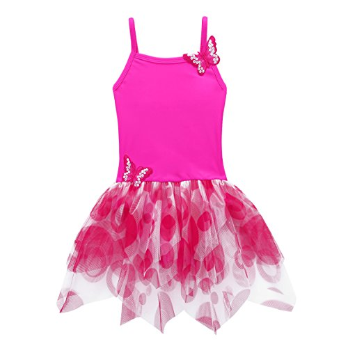 iiniim Kids Girls Ballet Tutu Dress Camisole Leotard Fairy Dance wear Costumes Rose 5-6