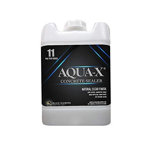 Silicone Acrylic Concrete Sealer - 5 Gallon AQUA-X 11 Concrete Sealer (Covers up to 3,000 Sq Ft), Clear, Penetrating Sealer; Silicone, Water Repellant for Driveways, Patios, Retaining Walls, Cement Tiles and More