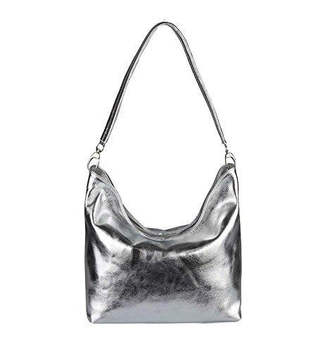 OBC Only-Beautiful-Couture, Sac pour Femme à Porter à l'épaule Blanc Weiß-Blumen. 36x24x14 cm (BxHxT) argent