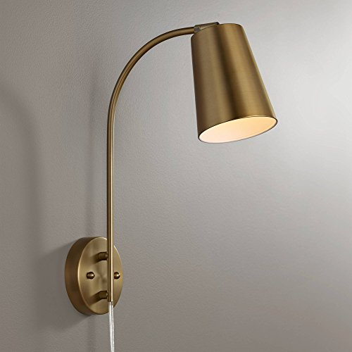 (Sully Warm Brass Plug-in Wall Lamp - 360 Lighting)