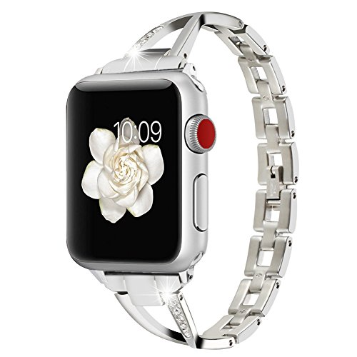 Style Rhinestone Bangle (Huishang Apple Watch Accessories , Women Jewelry Bangle Metal Stainless Steel Adjustable Bracelet with Rhinestone 38MM Editions Wristband for Apple Watch ( Metal Silver 38mm ))