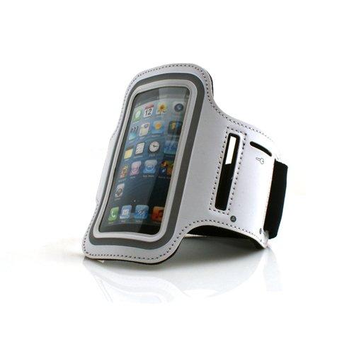 System-S Sport Armband Tasche Schutz Hülle Etui Case für Jogging Fitnessstudio Weiß für Apple iPhone 5