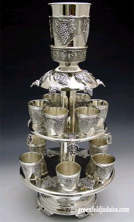 Grapes Motifs Silver Plated 12 Cup Two Tier Kiddush Wine Fountain