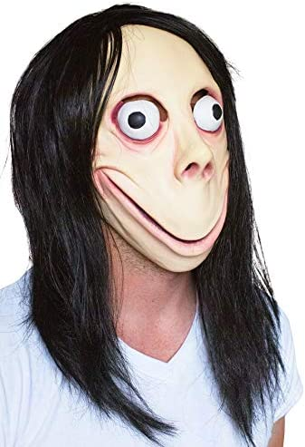 Scary Momo Games Latex Mask Long Hair Adult Halloween Costume Party Props PN