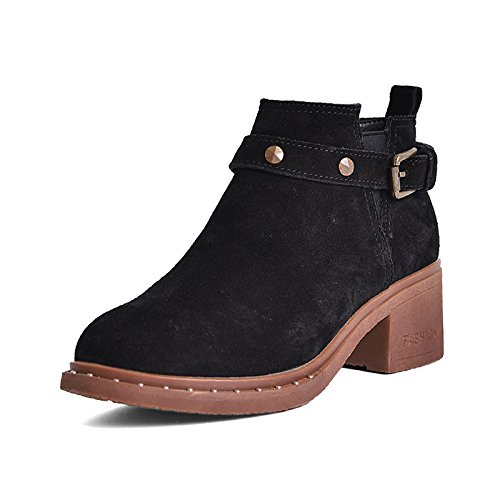 hebilla edición botas Bare botas botas otoño con coreana remaches corto hembra Black con hembra hebilla GTVERNH grueso mate mujer Pequeño AxFw1qngFB
