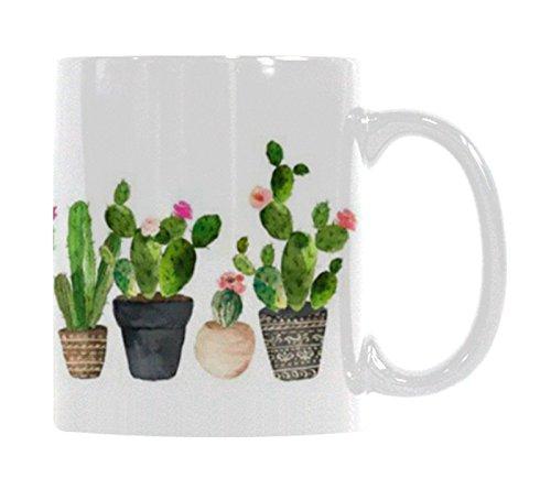(Ceramic Coffee Mug - 11 Ounce Novelty White Tea Cup - Cactus - Office, Home, Birthday Gift)