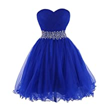 Cdress Crystal Beads Sweetheart Short Tulle Prom Dresses Homecoming Party Gowns