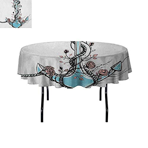 (Douglas Hill Anchor Printed Tablecloth Romantic Boho Design Sketch of an Old Anchor with Roses Black Ink Style Desktop Protection pad D55 Inch Pale Blue Pale Coral)
