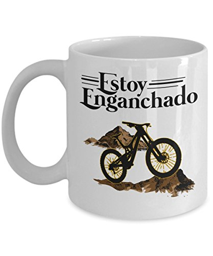 Vintage Estoy Enganchado Mountain Biking Mexican Style Coffee & Tea Gift Mug Stuff For Spanish Speaking Hispanic Men & Women by Hispanic Culture & Mexican Theme Gifts And Party Supplies For Bicyclist Men & Women
