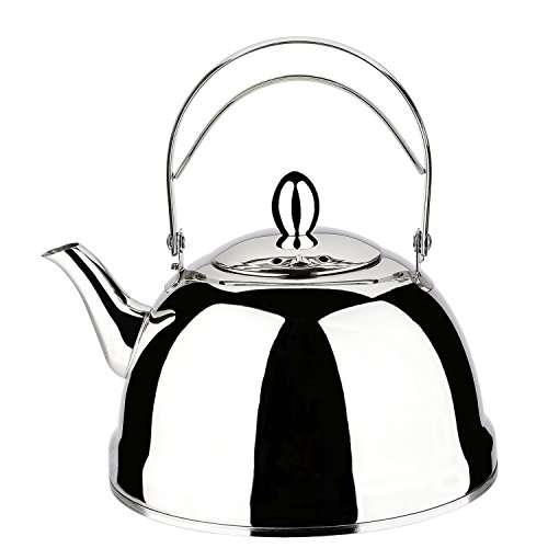 Tea Pot with Infuser Loose Tea for Stovetop 18/10 Stainless Steel Coffee Kettle 8 Cup Quick Boil Sturdy Teapot Hot Water Mirror Finish 2 Liter / 2.1 Quart 68 Ounce by Onlycooker