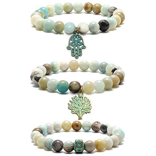 M MOOHAM Gemstone Bead Bracelets - 8mm Natural Amazonite Stone Beads Bracelet, Men Women Stress Relief Yoga Beads Adjustable Semi-Precious Gemstone Bracelet ()