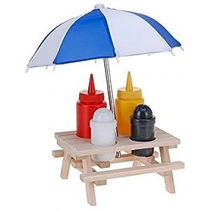 6-tlg. Picknicktisch Menage SET - Senf & Ketchup Ständer und Salzstreuer & Pfefferstreuer - mit Sonnenschirm…