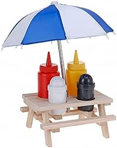Quantio - Lote de mesa de picnic con juego para aliño, soporte ...