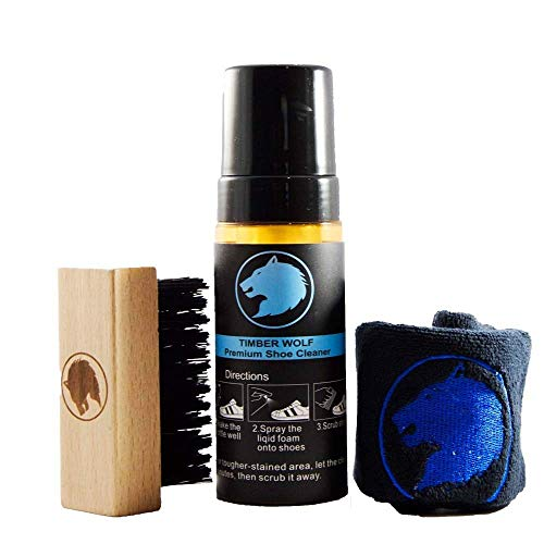 Timber Wolf Premium Shoe Cleaner Kit - 5oz Bottle Foaming Fabric Cleaner, Brush and Towel for Athletic Shoes, Mesh, faux Leather, White shoes, and Sneakers