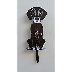 Wall Clock with SwingingTail Pendulum, Cat or Dog, Wood Frame, 31 Different Designs, Requires 2 AA Batteries(not included) for Clock and Pendulum,Quartz Movement (dark black)