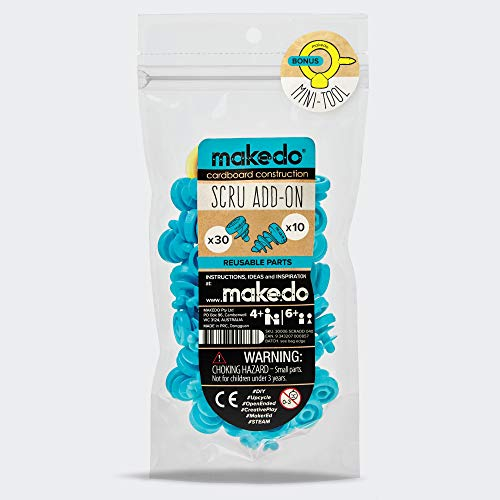 Makedo Cardboard Construction Scru Add-On Kit, Includes 40 Reusable Scrus and Bonus Mini-Tool, Perfect for Classroom STEM STEAM Learning and at-Home Play for Kids Age 4+
