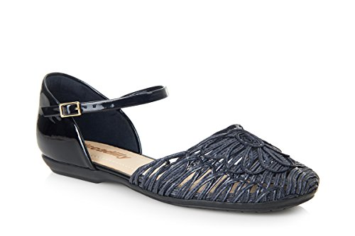 Piccadilly 240046 Padded Low Heel Closed Toe Sandal Black Patent peVUIx5EgJ