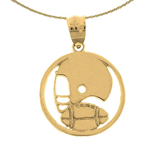 Jewels Obsession Solid 14K Yellow Gold Football Helmet And Ball Pendant with 16