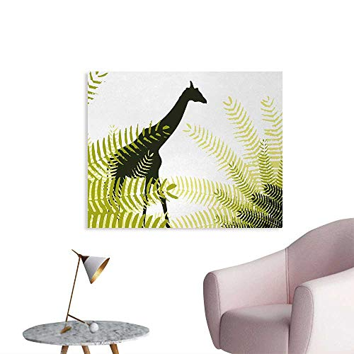 Tudouhoho Africa Funny Poster Silhouette of Giraffe Ferns National Park Terrestrial Tall Animal Print Wallpaper Pale Green Dark Green W36 xL24