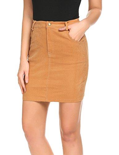 Zeagoo Women's Front Button Clousre Corduroy Pocket High Waist A-Line Skirt