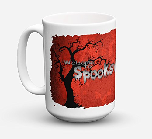Caroline's Treasures SB3008CM15 Welcome To Spooks Ville Halloween Microwavable Ceramic Coffee Mug, 15 oz, Multicolor]()
