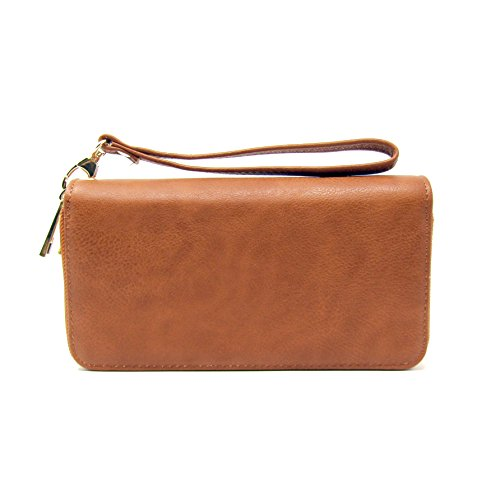 Solene Women's Faux Leather Large Capacity Purse Double-Zipper Clutch Wallet Handbag to Organize Your Cash, Passport, Card and Phone with Removable Wristlet Strap (Tan) - Tan Womens Wallet